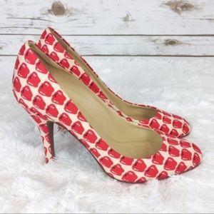 j. crew // red apple print mona pumps heels
